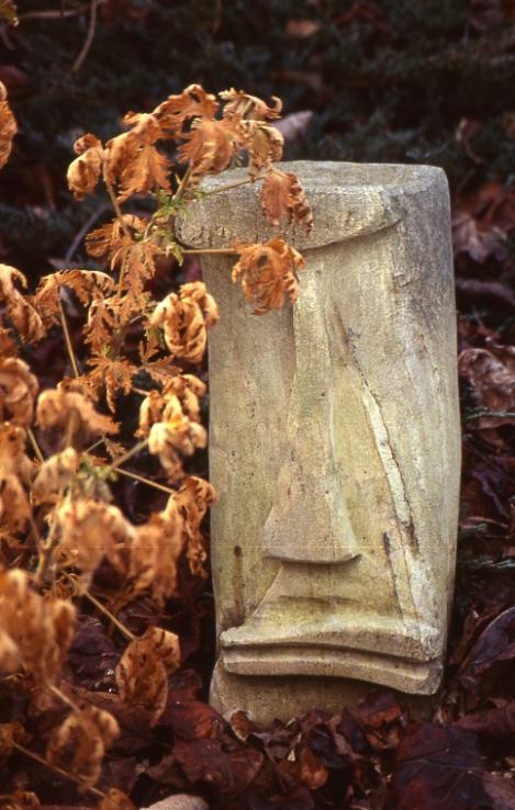 stone, sculpture, stone head, garden art