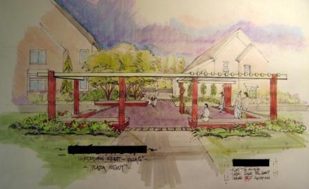 Plaza rendering with pergola
