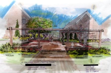 Pergola drawing for plaza