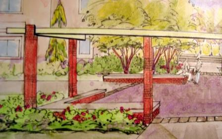 Pergola rendering-left side of plaza