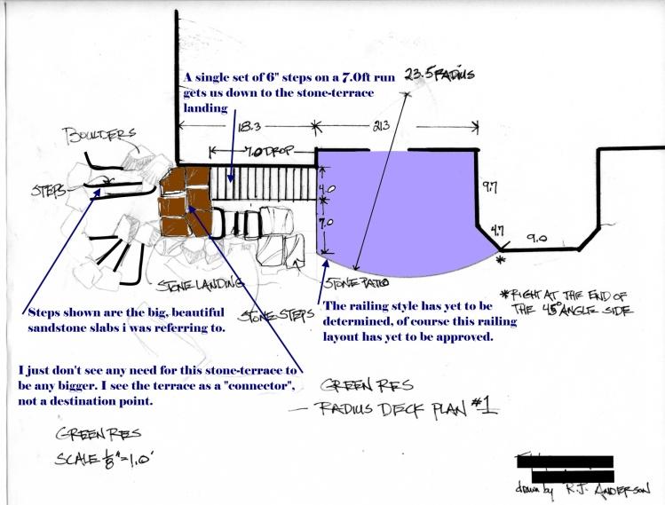 landscape plan; deck, steps, and landing