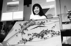 Maya Lin with her design for the Vietnam Memorial, May 6, 1981.